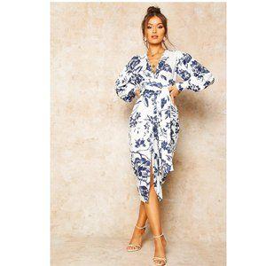 Boohoo Plus - Floral Print Tie Waist Midi Dress